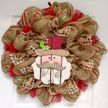 Adorable Wood Santa with Metal Mustache Deco Mesh Wreath - $89.99