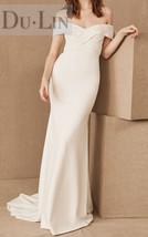 DuLin white soft brocade v neck off shoulder custom wedding dress - $218.00