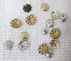 Lot 15 Vintage Mixed Silver Gold Filigree Metal Bead Caps & Beading Piec... - $7.43