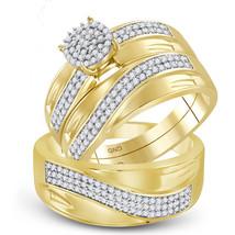 10k Yellow Gold His & Her Round Diamond Cluster Matching Bridal Wedding Ring Set - $799.00