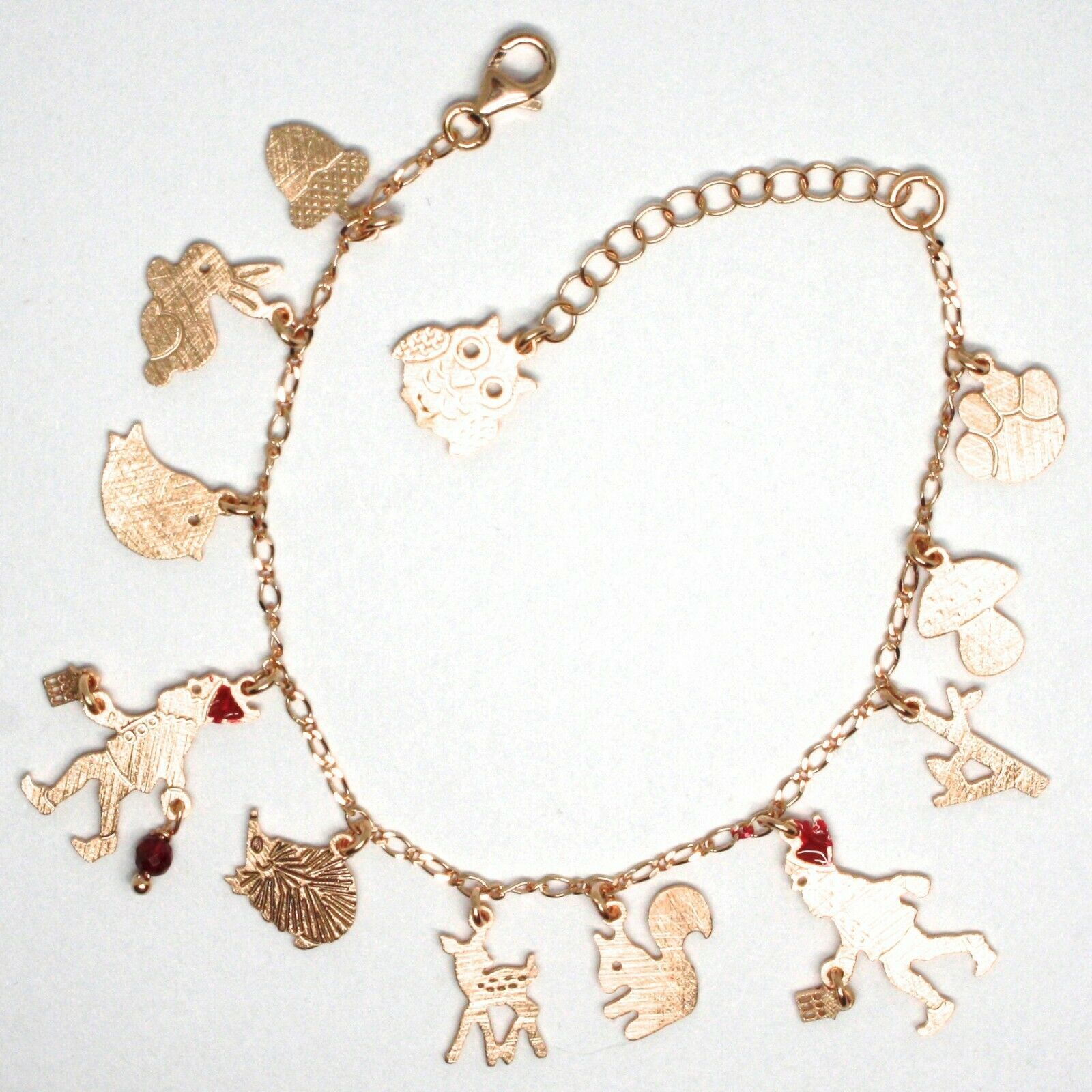 925 Silver Bracelet, Rabbit, Squirrel, Deer, Hedgehog, Owl, le Favole