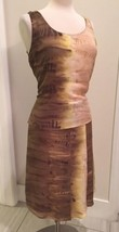 Jones New York NY 2 Piece Silk Skirt Blouse Top Set Beige Brown Green 6 ... - $14.84