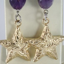 925 STERLING YELLOW SILVER PENDANT EARRINGS OVAL AMETHYST WORKED BIG STAR, SATIN image 2