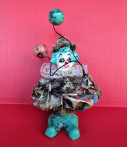 Vintage Paper Mache Clown Figurine Baloons Circus Decoration Art 8IN Fol... - $11.87