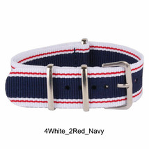 20mm X 255mm Nato Canvas Nylon wrist watch Band strap RED WHITE BLUE NII - $14.22