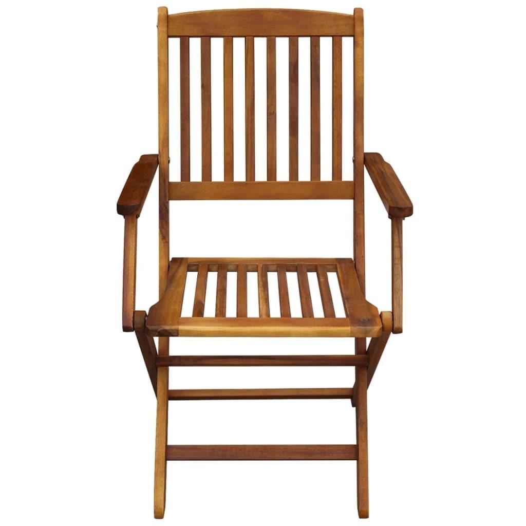 vidaXL 2x Outdoor Dining Chair Folding Solid Eucalyptus Wood Garden Patio Seat