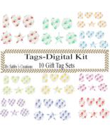 Flower Gift Tags Digital Kit 1-Digtial Paper-Rose-Art ClipJewelry-Scrapbook - $5.00