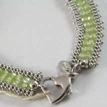 925 Silver Bracelet, Tennis Balls Multi Wires, Peridot Green, Made in Italy image 4