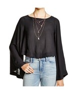 Free People Crop Top Shirt Bell Sleeve Flare Black Casual XS blouse fest... - $24.72