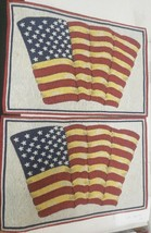 "Set of 2 Tapestry Kitchen Placemats, 13""x19"", USA FLAG,RED,BLUE,WHITE & ... - $12.86"