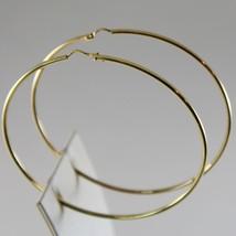 18K YELLOW GOLD EARRINGS BIG CIRCLE HOOP 63 MM 2.48 INCH DIAMETER MADE IN ITALY image 2