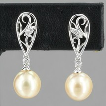 IPS 14K White Gold 8mm Champagne Pearl Diamond Accent Dangle Earrings 3.... - $149.99