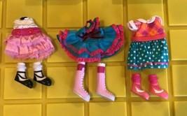 Lalaloopsy Doll Clothes Lot Of 6-Polka Dot Pink & Blue Dress & 3 Pair Sh... - $23.50