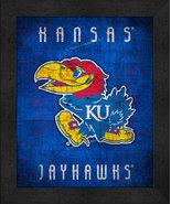 "Kansas Jayhawks ""Retro College Logo Map"" 13x16 Framed Print  - $39.95"