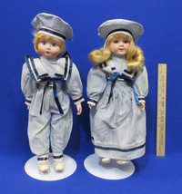 "2 Vintage 15"" Porcelain Dolls Boy & Girl Sailors Blue Pinstripe Outfits ... - $17.81"