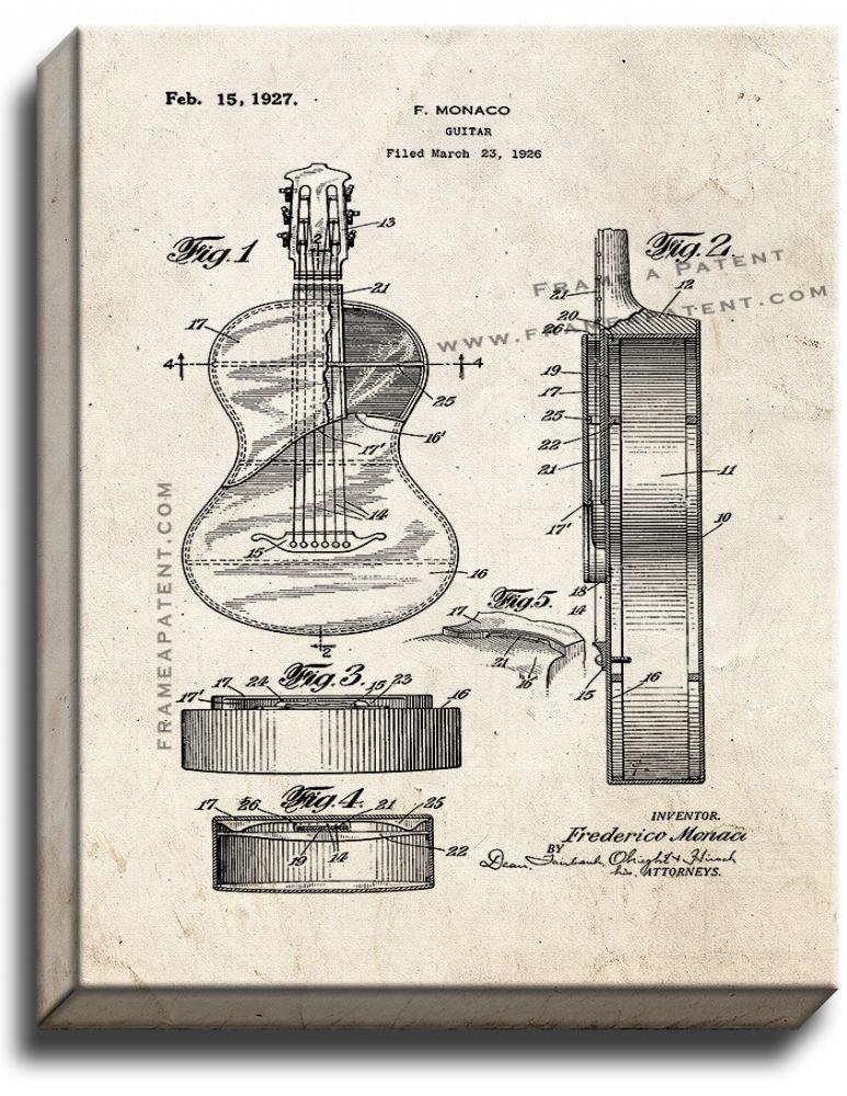 Primary image for Guitar Patent Print Old Look on Canvas