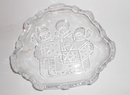 Vintage Crystal Pressed Glass Mikasa Sweet Meat dish Christmas Carolers Candy  - $15.00