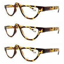 3 PACK Mens Womens Retro Half Moon Reading Glasses Classic Readers +1.0~... - $10.39