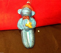 Glass ornament  sock monkey in choice of blue teal or red department 56 new image 2
