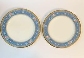 Noritake Grand Terrace Fruit Dinner Plates Made In Japan Set Of 2 Blue Gold Trim - $39.60