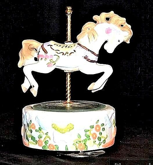 Horse Carousel Music Box (1980's) Works AA18 - 1104 Vintage