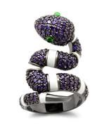 0W184 - Brass Ring Ruthenium Women AAA Grade CZ Multi Color - £13.75 GBP