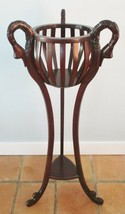 Vintage Carved Swan Tall Plant Stand Tri Leg with Bottom Shelf - $594.00