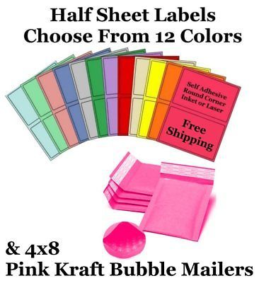 4x8 Pink Kraft Poly Bubble Mailers + Half Sheet Self Adhesive Shipping Labels