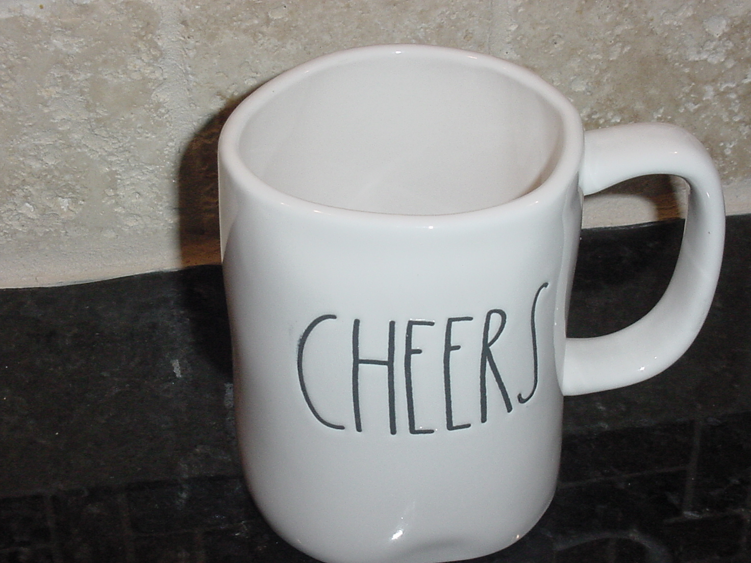 Rae Dunn CHEERS Rustic Mug, Ivory with Black Letters, New!