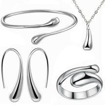 Women Wedding  925 Silver Drop Necklace Bracelet Earring Ring Fashion Jewelry Se image 3