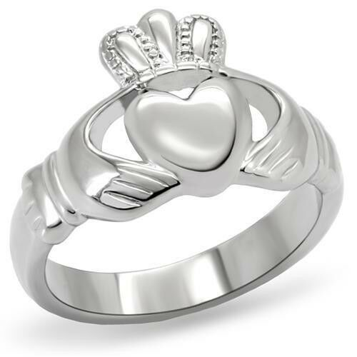 Primary image for HCJ Stainless Steel Irish Claddagh Friendship Ring SIZE 5 - 10 NEVER FADES