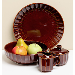 "Primary image for SANGO ""SUNDANCE"" BROWN FIVE PIECE COMPLETER SET SOLID ROUND STONEWARE NEW I BOX"