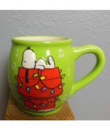 Snoopy Mug Peanuts Worldwide Doghouse with Lights and Music Notes Green ... - $15.00