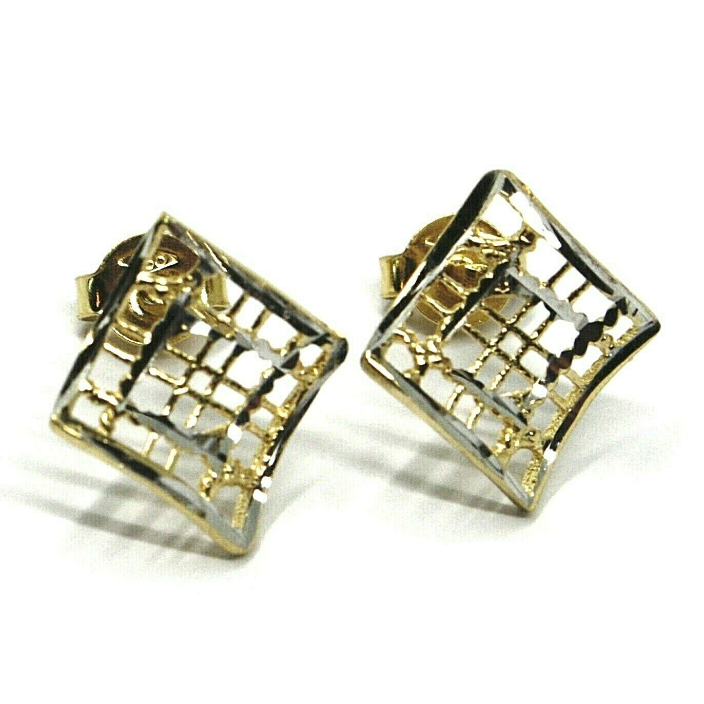 SOLID 18K YELLOW WHITE GOLD EARRINGS, WAVY, 13x12 mm, WORKED RHOMBUS, STRIPED