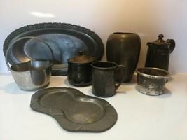 Vintage Lot Of Pewter & Silver Plate Dinnerware Serving Saucer Tea Sugar... - $39.59