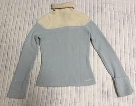 Women's DKNY Jeans 100% Lambs Wool Blue/Cream Turtleneck Sweater, Size XS - $29.99