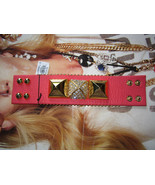 Juicy Couture Bracelet Crystal Pyramid Cuff Leather NEW - $47.52