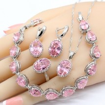 Pink Cubic Zirconia 925 Sterling Silver Jewelry Sets Necklace Pendant Ea... - $24.41