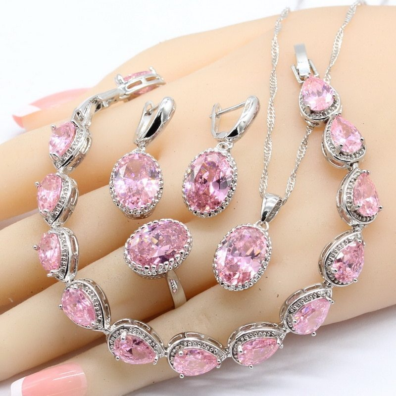 Conia 925 sterling silver jewelry sets necklace pendant earrings bracelet for women wedding free
