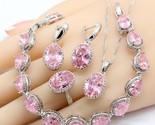Ling silver jewelry sets necklace pendant earrings bracelet for women wedding free thumb155 crop