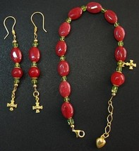 RUBY PERIDOT VERMEIL BRACELET ROSARY & ASSORTED EARRINGS - UNIQUE - $173.25