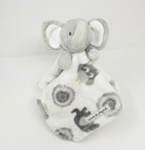 Blankets & Beyond Baby Elephant Security Blanket White & Grey Owls Soft Lovey - $45.45