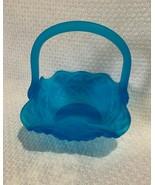 Westmoreland blue satin glass basket with handle, lovely Easter color da... - $24.74