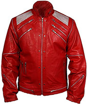 Men's Michael Jackson Beat King of Pop Retro Biker Style Leather Jacket   - $72.00+