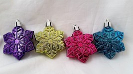 Snowflake Ornament Colorful Set of 4 Holiday Purple Blue Pink Yellow - $4.98