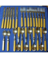 Lot of 26 Pieces CANNES-GOLD Handles Stainless Flatware by SABATIER VGC - $48.49