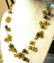 "Vintage Jewelry: 18"" Green Iridescent Beaded Necklace 2016111621 - $8.90"