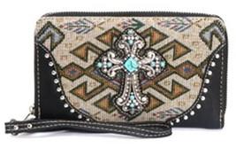 NEW Black WALLET / Wristlet AZTEC Silver CROSS w/ Turquoise & Rhinestone... - $16.39