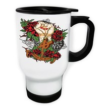 Bound by Faith Hand Holding Cross  White/Steel Travel 14oz Mug x825t - $17.79