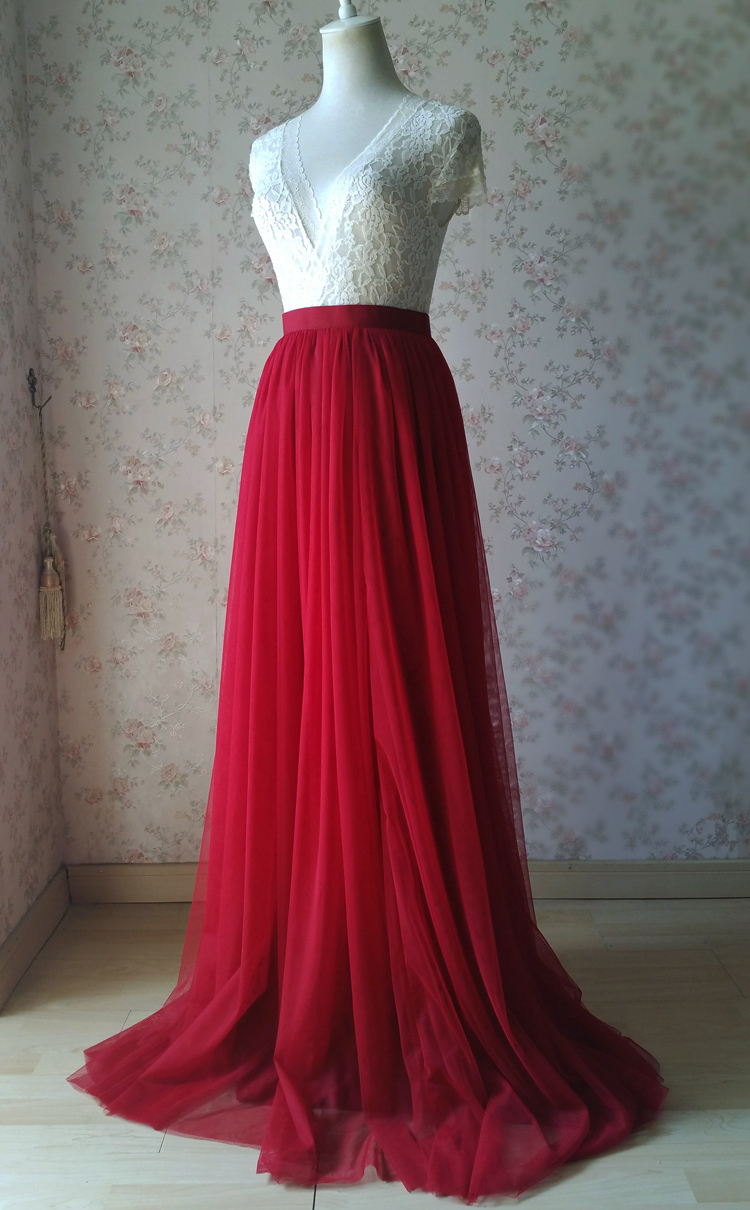 Red tulle bridesmaid wedding skirt 38 750 02